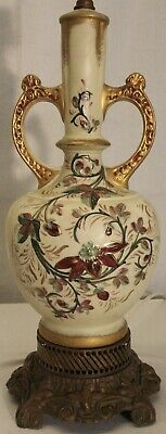 1920s Antique French Victorian porcelain hand painted and gold inlaid lamp