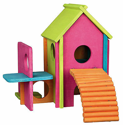 Colourful Wooden House for Mice & Hamsters 2 Storey Climbing Play Hut