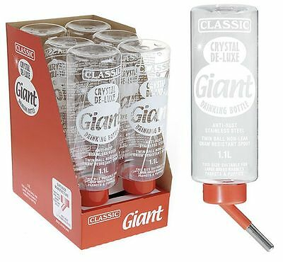 Giant Extra Large Non Drip Water Bottle for Rabbit Cage 1.1 Litre