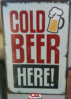 COLD BEER Tin Metal Sign Rustic Look Bar or Man Cave Brand New Harley signs also
