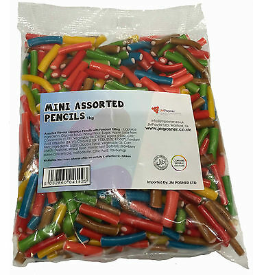 Retro Pencil Candy Sweets - Halal Pencils 1 KG Bag Pick N Mix Jelly Sweet