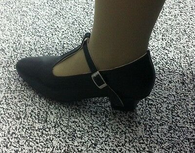 NEW Leather T BAR Character Dance Shoes Black Low Heel