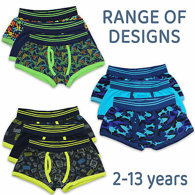 Boys Kids Childrens Trunks Boxer Shorts Cotton 3 Pack Elasticated Waist Underwea