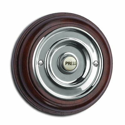 "Mahogany Plinth, varnished, with 76mm dia. (3"") chrome push Model: MAH76Cr"