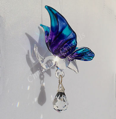 Hand Crafted PURPLE Fantasy Glass BUTTERFLY & Crystal Rainbow Maker Suncatcher