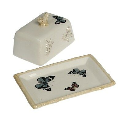 dotcomgiftshop CREAM BOTANICAL BUTTERFLY EMBOSSED CERAMIC BUTTER DISH WITH LID