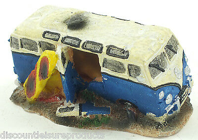 Aquarium VW Camper Van + Surf Board Bubble Ornament Fish Tank Decoration #2830B1