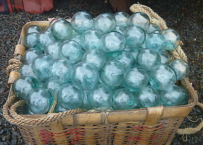 "Japanese Glass Fishing FLOATS 2"" LOT-15 Round Net Buoy Balls Authentic Vintage"