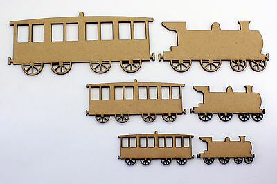 Train and Carriage Craft Shapes, Embellishments Decorations. 2mm MDF Wood
