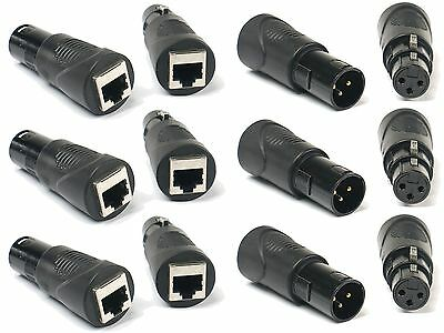 (6) RJ45 Ethernet to 3 Pin XLR DMX Female & Male Adapter Sets by VRL