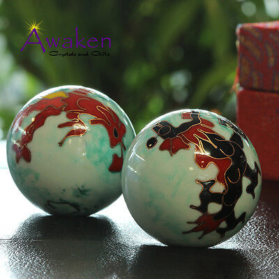 35mm Chinese Health Meditation Balls RED BOX Feng Shui Stress Balls w Chimes