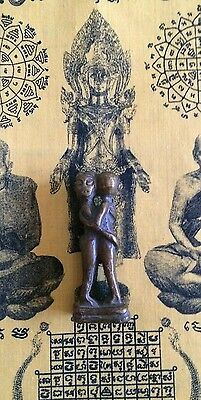 Antique Brass Thai Fertility Amulet Statue Of Embracing Couple Making Love.