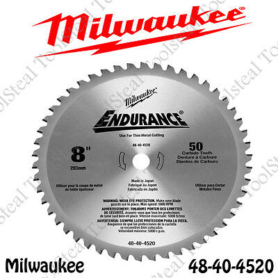 "Milwaukee 48-40-4520 METAL CUTTING Circular Saw Blade, 8"" 50 Tooth Dry Cut -NEW!"