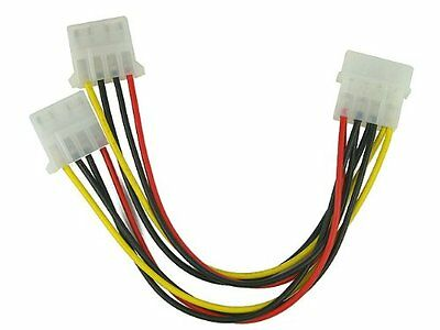 (5-pack) 4-pin Molex Male to 2x Female Power Splitter Cable Extension Adapter 5X