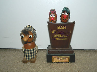 2 Vintage Wooden Bar Opener Sets - Corkscrew & Bottle Opener bartender wood old