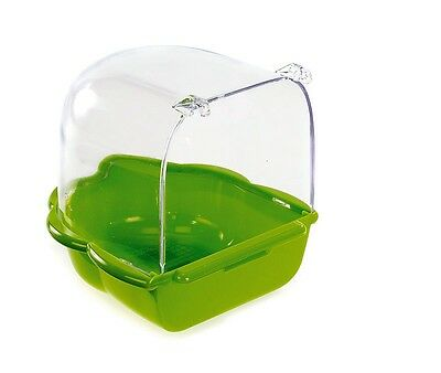 Bird Bath for Canary Budgie Bird Cage Lime Green Base with Transparent Top