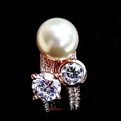 Rose Gold Plate White Pearl 3 Stackable Ring Set Made With Swarovski Crystal R68