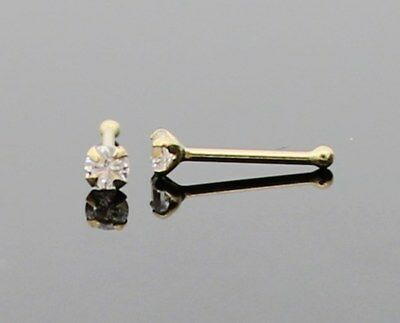 GENUINE 22G REAL 14K SOLID GOLD 2mm CZ DIAMONTE UNISEX NOSE STUD PIN RING