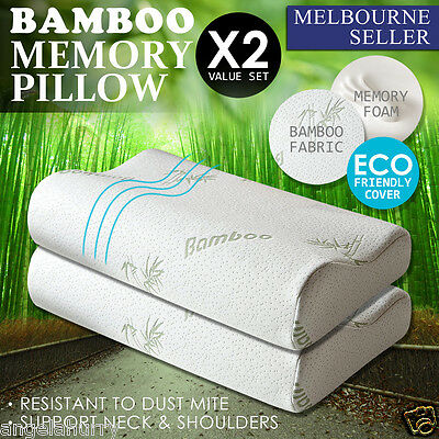 2 x Allergy Proof Bamboo Contour Fibre Pillow Memory Foam Cover 50 X 30CM
