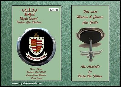 Royale Classic Car Grill Badge + Fittings - PEMBROKESHIRE COAT OF ARMS B2.1336