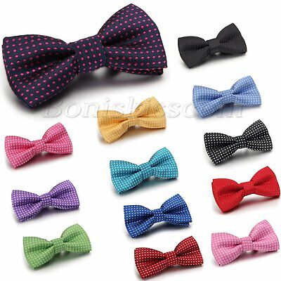 Kid Boy Polka Dots Bow Tie Bowknot Dress Neckwear Pre-tied Tuxedo Baby Bowties