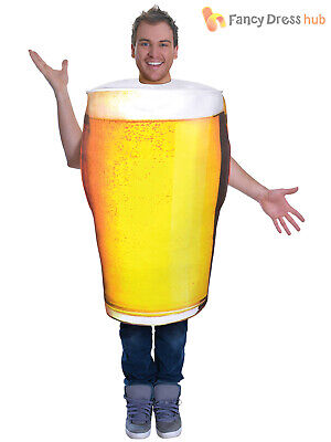 Adults Pint of Beer Costume Mens Ladies Alcohol Fancy Dress Lager Oktoberfest
