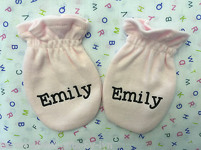 Baby Mitts - Pink, Personalised with name.