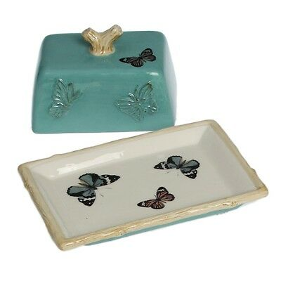 dotcomgiftshop GREEN BOTANICAL BUTTERFLY EMBOSSED CERAMIC BUTTER DISH WITH LID