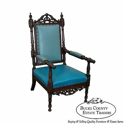 Antique 19th Century American Victorian Renaissance Carved Rosewood Throne Chair