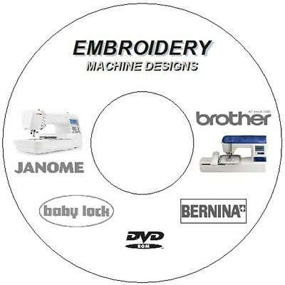 100,000+ 7.54Gb Embroidery Designs Brother Janome Babylock Singer Bernina 2X Dvd