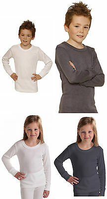Boys Girls Children Long Sleeve Thermal Vest Grey White Start Age 2 up Age 13