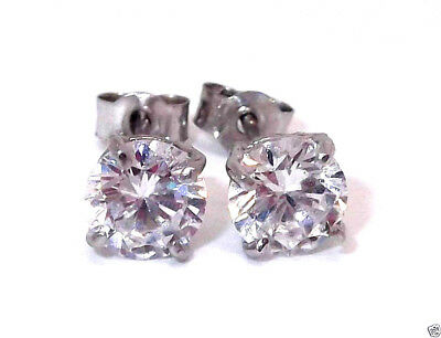 Pair Solid 9Ct White Gold Round Brilliant Cut 6Mm Solitaire Studs 1 Carat Equiv