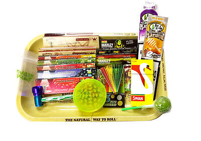 RAW Rolling Tray Kit Flavoured Hemp Papers Tobacco Grinder Swan Bob Marley Tips