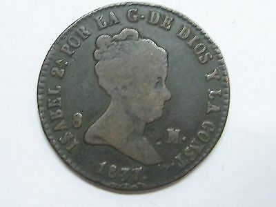 1837 Genuine Old Isabel Ii 8 Maravedi Segovia Spanish Spain
