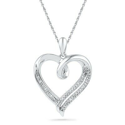 Diamond Heart Pendant Necklace in Sterling Silver or White Gold