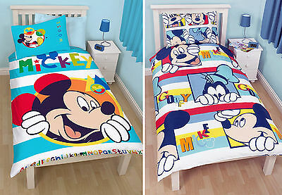Mickey Mouse Kids Single Duvet Quilt Cover Bedding Set Choose Boo Play Designs