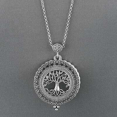 Antique Silver Chain Tree Of Life 5 X Magnifying Glass Locket Pendant Necklace