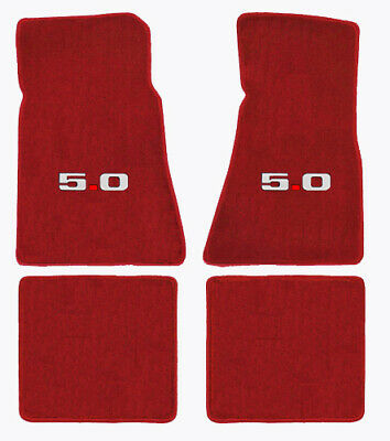 1979-1993 Ford Mustang Red 4pc Front & Rear Floor Mats Set - 5.0 Logo in Silver