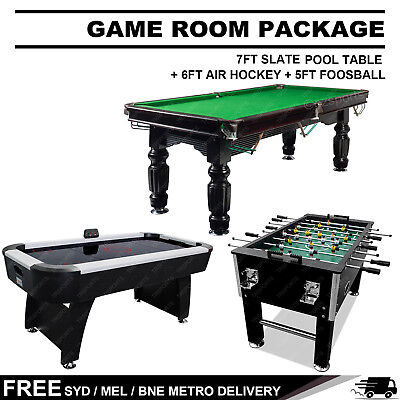 Game Room Package 7Ft Slate Pool Table + 6Ft Air Hockey  + 5Ft Soccer Table