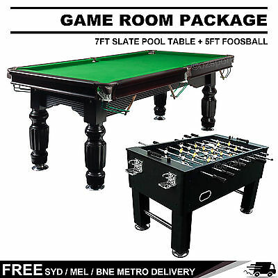 Game Room Package 7Ft Slate Pool Table + 5Ft Foosball Table Free Metro Delivery*
