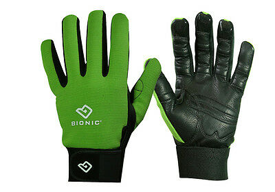"""1 Pair Bionic Womens Gardening Gloves - """"Bloom"""" Mesh Back w/Leather Palm/Green"""