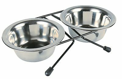 x2 Stainless Steel Bowls with Black Stand Eat on Feet Dog Cat Bowls 0.2L