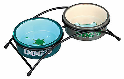 x2 Ceramic Bowls with Black Stand Eat on Feet Dog Bowls 0.5L