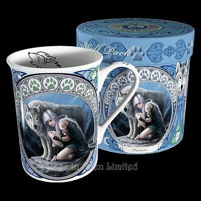 *PROTECTOR* Goth Wolf Art Fine Bone China Gift Boxed Mug By Anne Stokes