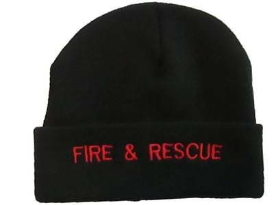 Fire & Rescue BLACK Woolly Beanie Hat (RED Text) Retained Firefighter Personnell