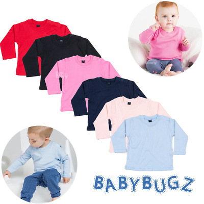 Baby Long Sleeve T-Shirt Top Tee Plain 100% Soft Cotton Colours Boys Girls Gift