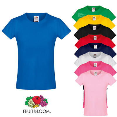 Fruit Of The Loom GIRL'S KIDS T-SHIRT PLAIN SOFT COTTON TOP TEE COLOURS SIZES