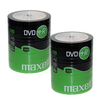 200 DVD+R 16x Maxell BLANK MEDIA DISCS  4.7gb Cello wrapped Gold Top