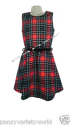 Girls Sleeveless Tartan Scuba Skater Dress New Kids Check Red Party Dresses 7-13