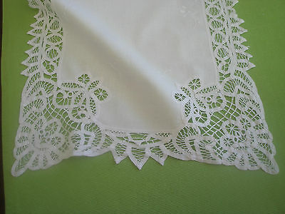 "16""x40"" White Cotton Runner / Batenburg Ribbon Lace Freshly Laundered"